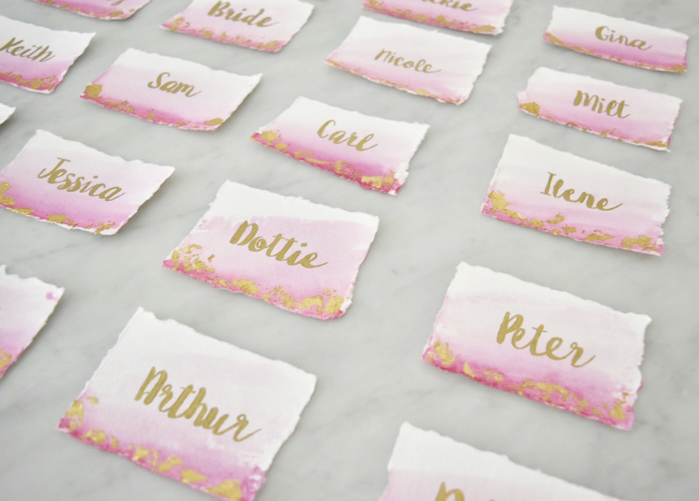 Gold Leaf Water Color Place Cards