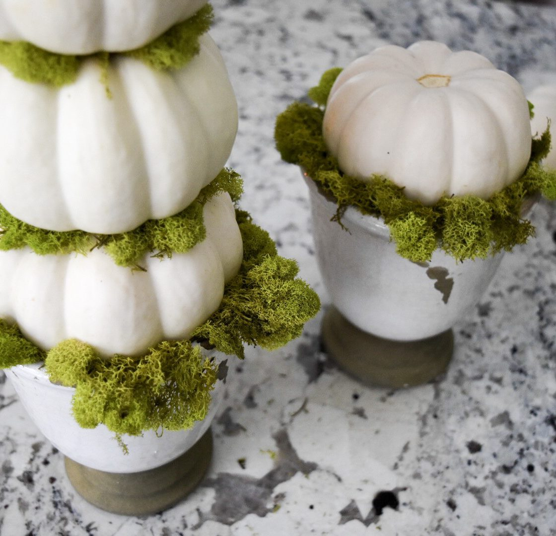 White pumpkin and moss topiary